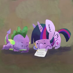 Size: 2048x2048 | Tagged: safe, artist:catscratchpaper, spike, twilight sparkle, alicorn, dragon, pony, abstract background, duo, female, lying down, male, mare, paper, pencil, prone, twilight sparkle (alicorn), writing