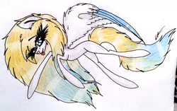 Size: 2384x1493   Tagged: safe, artist:beamybutt, oc, pegasus, pony, :p, eyelashes, female, mare, pegasus oc, signature, solo, tongue out, traditional art, wings