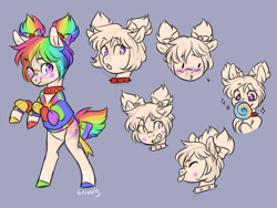 Size: 900x675 | Tagged: safe, artist:lavvythejackalope, oc, oc only, oc:dear diary, earth pony, pony, :p, blushing, bust, candy, choker, clothes, earth pony oc, eyes closed, food, gray background, lollipop, multicolored hair, one eye closed, rainbow hair, rearing, simple background, spiked choker, tongue out, wink