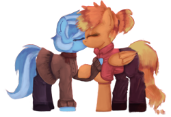 Size: 1625x1117   Tagged: safe, alternate version, artist:menalia, oc, oc only, oc:freezy coldres, oc:shiny flames, pegasus, pony, unicorn, clothes, eyes closed, female, implied unicorn, kissing, lesbian, love, mare, pants, ponytail, scarf, shirt, shoes, simple background, skirt, transparent background, wings