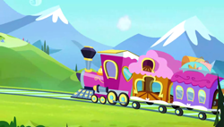 Size: 1280x727   Tagged: safe, screencap, equestria games (episode), background, friendship express, hill, mountain, no pony, scenery, scenic ponyville, train