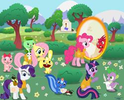 Size: 2730x2196   Tagged: safe, artist:azure-vortex, angel bunny, pinkie pie, rarity, spike, twilight sparkle, bear, chipmunk, dragon, earth pony, pegasus, pony, porcupine, rabbit, skunk, unicorn, animal, crossover, cuddles (happy tree friends), flaky, flippy, giggles (happy tree friends), happy tree friends, petunia (happy tree friends), portal, portal (valve), portal gun, unicorn twilight