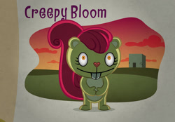 Size: 1058x737   Tagged: safe, artist:culu-bluebeaver, apple bloom, squirrel, background, creepybloom, happy tree friends, species swap, this will end in death, this will end in pain, this will not end well