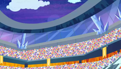 Size: 1280x727   Tagged: safe, screencap, equestria games (episode), background, banner, cloud, crowd, crystal, crystal empire, night, no pony, scenic ponyville, stadium