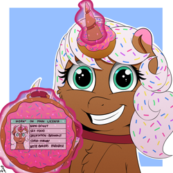 Size: 2000x2000   Tagged: safe, artist:h3nger, oc, oc:donut, food pony, pony, unicorn, donut, food, horny on main, magic, ponified, solo