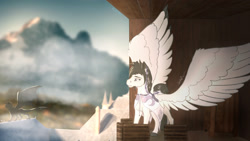 Size: 1920x1080 | Tagged: safe, artist:ehnala, artist:kanah_athy, pegasus, pony, crying, cute, emotions, erebys, feels, nostalgia, tears of joy, wings, young