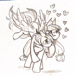 Size: 2048x2048 | Tagged: safe, artist:hellopuns, applejack, rainbow dash, earth pony, pegasus, pony, appledash, cheek squish, eyes closed, female, floating heart, flying, heart, hoof on chest, hug, lesbian, nuzzling, open mouth, open smile, pencil drawing, raised hoof, shipping, simple background, smiling, spread wings, squishy cheeks, standing, traditional art, white background, wings
