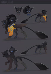 Size: 3705x5372   Tagged: safe, artist:ignis, oc, oc only, griffon, character design, cyberpunk, multiple heads, solo, two heads