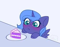 Size: 2244x1764 | Tagged: safe, alternate version, artist:cloudberry_mess, princess luna, blushing, cake, cute, female, filly, food, hooves on the table, lunabetes, spread wings, table, wings, woona, younger