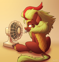 Size: 1800x1900 | Tagged: safe, artist:ohemo, cinder glow, summer flare, kirin, fan, female, food, looking back, mouth hold, popsicle, solo
