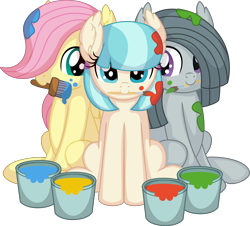 Size: 7612x6889 | Tagged: safe, artist:cyanlightning, coco pommel, fluttershy, marble pie, earth pony, pegasus, pony, .svg available, absurd resolution, cocobetes, cute, ear fluff, female, filly, marblebetes, mouth hold, paint, paint bucket, paintbrush, shyabetes, simple background, sitting, the council of shy ponies, transparent background, trio, trio female, vector, young, younger