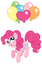 Size: 1352x2048 | Tagged: safe, pinkie pie, earth pony, pony, balloon, cute, diapinkes, female, floating, happy, heart balloon, mare, simple background, solo, stock vector, then watch her balloons lift her up to the sky, transparent background