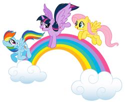 Size: 2048x1683   Tagged: safe, fluttershy, rainbow dash, twilight sparkle, cloud, rainbow, simple background, stock vector, transparent background