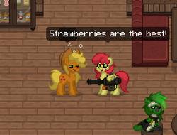 Size: 410x312   Tagged: safe, applejack, strawberry sunrise, earth pony, pegasus, pony, ashes town, drunk, female, game screencap, gun, minigun, strawberry savage, weapon