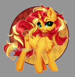 Size: 800x831 | Tagged: safe, artist:cabbage-arts, sunset shimmer, pony, unicorn, abstract background, butt fluff, cheek fluff, chest fluff, curved horn, ear fluff, female, grin, horn, leg fluff, looking at you, mare, smiling, solo