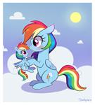 Size: 1800x2000   Tagged: safe, artist:darkynez, rainbow dash, pegasus, pony, blush sticker, blushing, cloud, cute, dashabetes, female, mare, plushie, self plushidox, signature, sky, sun