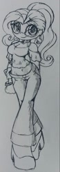 Size: 625x1797   Tagged: safe, artist:shadowhawx95, fluttershy, equestria girls, adorasexy, alternate design, alternate hairstyle, breasts, cleavage, cute, daaaaaaaaaaaw, glasses, looking at you, midriff, pencil drawing, sexy, shyabetes, smiling, solo, traditional art