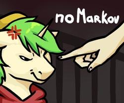 Size: 800x666   Tagged: safe, artist:megabait, oc, oc only, oc:markov, pony, unicorn, green hair, hand, meme, no horny, red hoodie, yellow hat