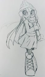 Size: 860x1453   Tagged: safe, artist:shadowhawx95, twilight sparkle, equestria girls, boots, clothes, grin, hat, pencil drawing, scarf, shoes, skirt, smiling, solo, traditional art, winter