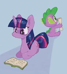 Size: 914x1008 | Tagged: safe, artist:dreamland7777, spike, twilight sparkle, dragon, pony, unicorn, book, cute, duo, lying down, ponyloaf, prone, reading, scroll, spikabetes, unicorn twilight