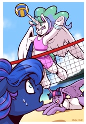 Size: 1640x2360 | Tagged: safe, artist:lrusu, princess celestia, princess luna, twilight sparkle, alicorn, pony, alternate hairstyle, ball, beach, bipedal, clothes, open mouth, shorts, smiling, sports, spread wings, sweat, tanktop, twilight sparkle (alicorn), underhoof, volleyball, wide eyes, wings