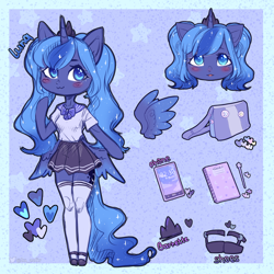 Size: 3000x3000   Tagged: safe, artist:zefirka, princess luna, alicorn, pony, anthro, bag, barrette, blushing, clothes, cute, lunabetes, notebook, phone, reference sheet, shoes, skirt, solo, stockings, thigh highs