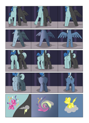 Size: 2904x4000 | Tagged: safe, artist:palibrik, party favor, thunderlane, oc, oc:shocker streak, pegasus, pony, unicorn, comic:securing a sentinel, broken, carousel boutique, comic, commissioner:bigonionbean, cutie mark, drunk, forced, fused legs, fusion, fusion:shocker streak, high res, horn, magic, male, merge, merging, offscreen character, ponyville, potion, sequence, shattered, shocked, shocked expression, stallion, surprised, wings