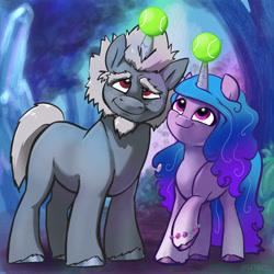 Size: 2048x2048   Tagged: safe, artist:pfeffaroo, alphabittle, izzy moonbow, pony, unicorn, g5, ball, duo, hornball, izzy's tennis ball, tennis ball