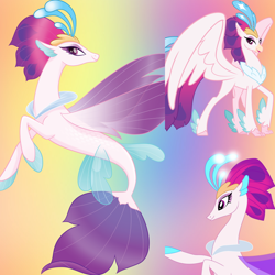 Size: 800x800   Tagged: safe, artist:twilightsparklefan99, queen novo, classical hippogriff, hippogriff, seapony (g4), my little pony: the movie, beak, claws, collar, colored pupils, crown, dorsal fin, feather, female, fin wings, fish tail, flowing tail, glow, jewelry, purple eyes, purple mane, regalia, show accurate, simple bac, smiling, solo, spread wings, tail, vector, wings
