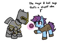 Size: 684x483   Tagged: safe, artist:neuro, oc, oc only, pony, unicorn, armor, magic 8 ball