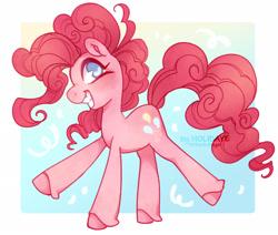 Size: 2236x1895   Tagged: safe, artist:holidaye, pinkie pie, earth pony, pony, blue eyes, cute, diapinkes, female, happy, mare, raised leg, smiling, solo