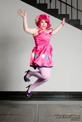 Size: 600x900   Tagged: safe, artist:breefaith, artist:thebigtog, pinkie pie, human, 2012, anime boston, brittany lauda, clothes, cosplay, costume, facebook, high heels, irl, irl human, open mouth, open smile, photo, shoes, smiling, stockings, thigh highs