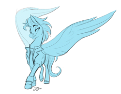 Size: 1911x1493   Tagged: safe, artist:probablyfakeblonde, oc, oc only, oc:andrew swiftwing, pegasus, clothes, grin, necktie, sketch, smiling, spread wings, suit, wings
