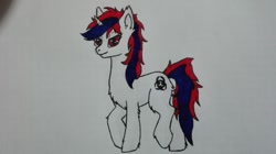 Size: 1040x584 | Tagged: safe, oc, oc:snowi, unicorn, blue hair, female, horn, mare, red and blue, red eyes, red hair, traditional art, white pony