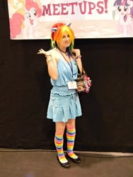 Size: 540x720   Tagged: safe, artist:rina-chan, rainbow dash, human, bracelet, clothes, cosplay, costume, irl, irl human, jewelry, kira buckland, photo, stockings, thigh highs