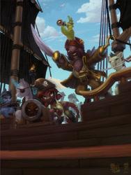 Size: 1200x1600 | Tagged: safe, artist:gor1ck, oc, oc only, oc:fractal, oc:gor1ck, oc:nemo2d, bird, parrot, tabun art-battle, pirate, tabun art-battle cover