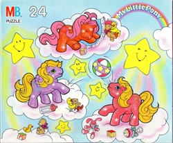 Size: 1509x1243 | Tagged: safe, photographer:absol, baby sparkle north star, bird, duck, earth pony, pegasus, pony, unicorn, g1, official, baby, baby bottle, baby pony, baby sparkle firefly, baby sparkle starflower, baby starflower, ball, blocks, cloud, female, my little pony logo, puzzle, stars, stuffed animals, toy, trio, trio female, walking on clouds