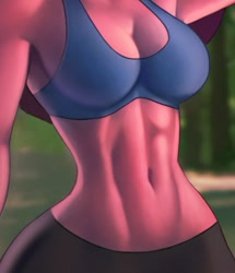 Size: 609x707 | Tagged: safe, alternate version, artist:aozee, pinkie pie, earth pony, anthro, belly button, breasts, busty pinkie pie, clothes, commission, digital art, faceless female, female, offscreen character, shorts, solo, solo female, sports bra, sports shorts, tail, thighs, wide hips