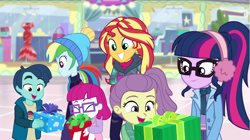 Size: 1920x1072 | Tagged: safe, screencap, lily pad (equestria girls), rainbow dash, sci-twi, sunset shimmer, twilight sparkle, equestria girls, equestria girls series, holidays unwrapped, winter break-in, spoiler:eqg series (season 2)
