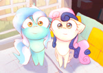Size: 2800x2000 | Tagged: safe, artist:papersurgery, bon bon, lyra heartstrings, sweetie drops, earth pony, pony, unicorn, adorabon, cute, duo, duo female, female, looking at you, lyrabetes, mare, sitting, smiling