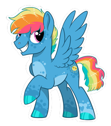 Size: 1515x1724 | Tagged: safe, artist:moccabliss, oc, oc:sunny side up, pegasus, pony, base used, male, offspring, parent:rainbow dash, parent:soarin', parents:soarindash, solo, stallion
