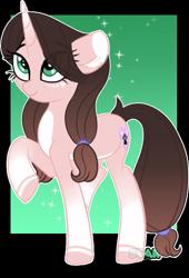 Size: 681x1001   Tagged: safe, artist:star-gaze-pony, oc, oc:cindy, pony, unicorn, female, mare, raised hoof, solo