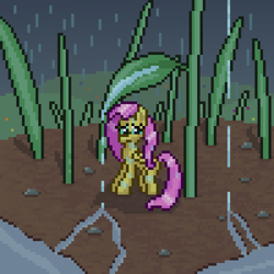 Size: 600x600   Tagged: safe, artist:nitobit, part of a set, fluttershy, pegasus, pony, female, grass, leaf, mare, micro, pixel art, puddle, rain, soaked, wet, wet mane, worried