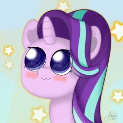 Size: 2000x2000   Tagged: safe, artist:limitmj, starlight glimmer, pony, unicorn, :3, blush sticker, blushing, cute, eyelashes, female, glimmerbetes, horn, mare, starry background, starry eyes, wingding eyes