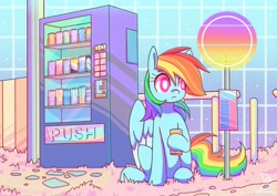 Size: 3508x2480   Tagged: safe, artist:musicfirewind, rainbow dash, pegasus, pony, :<, colored wings, colored wingtips, cute, dashabetes, female, frown, hoof hold, mare, single panel, sitting, soda, solo, vaporwave, vending machine, waiting, wide eyes
