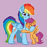 Size: 4000x4000   Tagged: safe, artist:witchtaunter, rainbow dash, scootaloo, pegasus, pony, chest fluff, commission, cute, ear fluff, eyes closed, hug, open mouth, open smile, scootalove, simple background, smiling