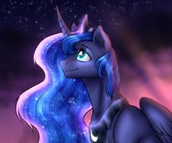 Size: 2000x1667 | Tagged: safe, artist:not-ordinary-pony, derpibooru exclusive, princess luna, alicorn, pony, crown, ethereal mane, female, jewelry, mare, night, regalia, smiling, solo, starry mane
