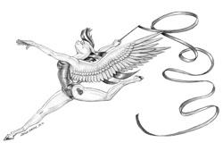 Size: 1500x1016 | Tagged: safe, artist:baron engel, blossomforth, pegasus, anthro, clothes, gymnastics, jumping, leotard, ribbon, solo