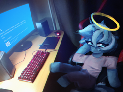 Size: 4000x3000 | Tagged: safe, artist:menalia, oc, oc only, mouse, pony, unicorn, aesthetics, blue screen of death, butt, chromatic aberration, clothes, computer, curtains, dark room, female, gaming chair, graphics tablet, halo, horn, keyboard, mare, pants, plot, room, shirt, sitting, t-shirt