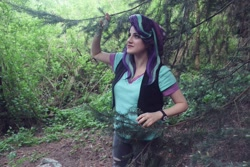 Size: 1792x1194 | Tagged: safe, artist:sarahndipity cosplay, starlight glimmer, human, beanie, clothes, cosplay, costume, everfree northwest, everfree northwest 2019, forest, hat, irl, irl human, photo